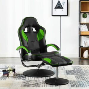 Cadeira estilo corrida c/ apoio de pés couro artificial verde - PORTES GRÁTIS