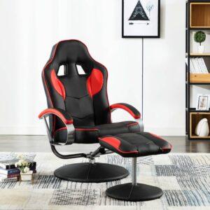 Cadeira estilo corrida + apoio de pés couro artificial vermelho - PORTES GRÁTIS