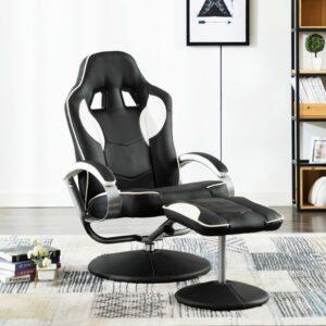 Cadeira estilo corrida c/ apoio de pés couro artificial branco - PORTES GRÁTIS