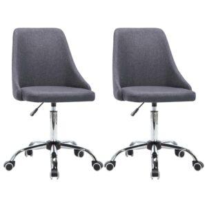 Cadeiras de escritório com rodas 2 pcs tecido cinzento escuro - PORTES GRÁTIS