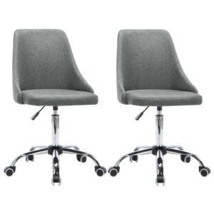 Cadeiras de escritório com rodas 2 pcs tecido cinzento-claro - PORTES GRÁTIS