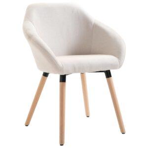 Cadeira de jantar tecido cor creme - PORTES GRÁTIS