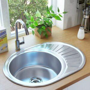 Lava-louças de cozinha com ralo e sifão oval aço inoxidável  - PORTES GRÁTIS