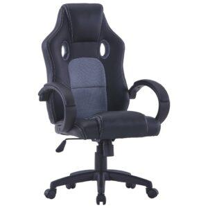 Cadeira de gaming couro artificial cinzento - PORTES GRÁTIS