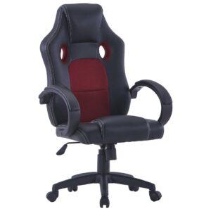 Cadeira de gaming couro artificial vermelho tinto - PORTES GRÁTIS