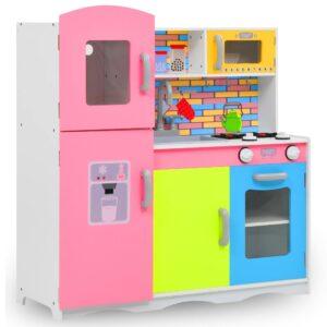 Cozinha de brincar para crianças MDF 80x30x85 cm multicor - PORTES GRÁTIS