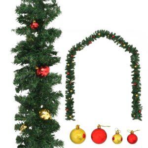 Grinalda de Natal decorada com enfeites 20 m - PORTES GRÁTIS
