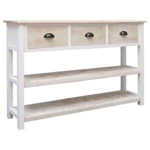 Aparador 115x30x76 cm madeira natural e branco - PORTES GRÁTIS