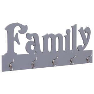 Cabide de parede FAMILY 74x29,5 cm cinzento - PORTES GRÁTIS