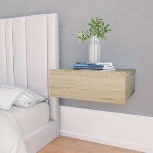 Mesa cabeceira suspensa 40x30x15 cm contraplacado carv. sonoma - PORTES GRÁTIS