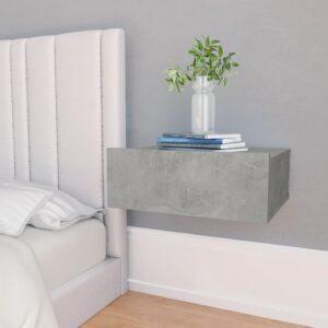 Mesa cabeceira suspensa 40x30x15cm contrapl. cinzento cimento - PORTES GRÁTIS