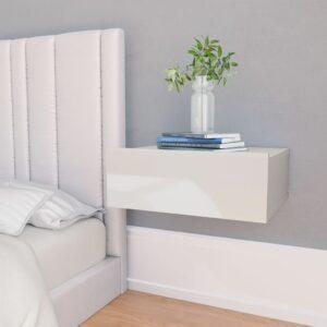 Mesa cabeceira suspensa 40x30x15 cm contrapl. branco brilhante - PORTES GRÁTIS