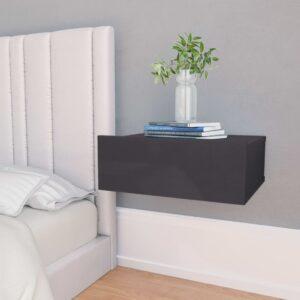 Mesa de cabeceira suspensa 2 pcs 40x30x15 cm cinzento brilhante - PORTES GRÁTIS