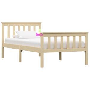 Estrutura de cama em pinho maciço 100x200 cm cor natural  - PORTES GRÁTIS