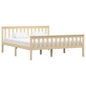 Estrutura de cama em pinho maciço 160x200 cm cor natural  - PORTES GRÁTIS