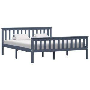 Estrutura de cama em pinho maciço 160x200 cm cinzento  - PORTES GRÁTIS
