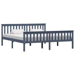 Estrutura de cama em pinho maciço 180x200 cm cinzento  - PORTES GRÁTIS