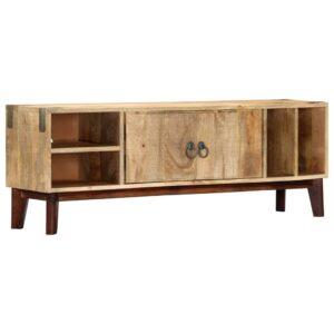 Móvel TV 115x30x46 cm madeira mangueira áspera maciça - PORTES GRÁTIS