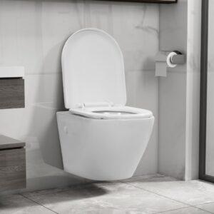Sanita de pendurar na parede sem rebordo cerâmica branco - PORTES GRÁTIS