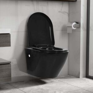 Sanita de pendurar na parede sem rebordo cerâmica preto - PORTES GRÁTIS