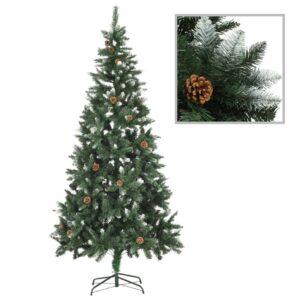 Árvore de Natal artificial com pinhas e brilho branco 210 cm - PORTES GRÁTIS