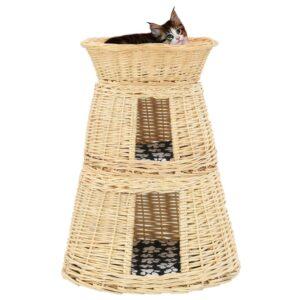 3 pcs cestos p/ gatos + almofadões 47x34x60cm salgueiro natural - PORTES GRÁTIS