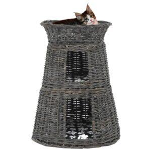 3 pcs cestos gatos + almofadões 47x34x60 cm salgueiro cinzento - PORTES GRÁTIS