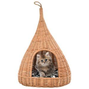 Ninho para gatos fechado c/ almofadão 40x60 cm salgueiro genuíno - PORTES GRÁTIS