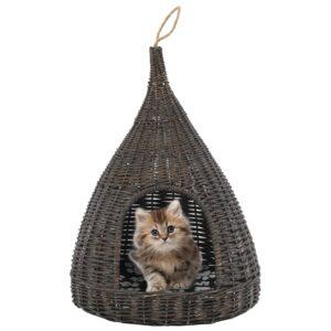 Ninho p/ gatos fechado c/ almofadão 40x60 cm salgueiro cinzento - PORTES GRÁTIS
