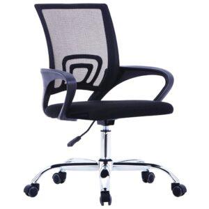 Cadeira de escritório com encosto em malha tecido preto - PORTES GRÁTIS