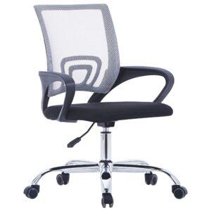 Cadeira de escritório com encosto em malha tecido cinzento - PORTES GRÁTIS