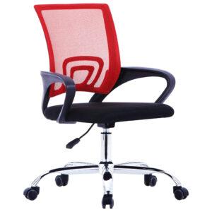 Cadeira de escritório com encosto em malha tecido vermelho - PORTES GRÁTIS