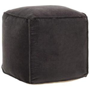Pufe em veludo de algodão 40x40x40 cm antracite   - PORTES GRÁTIS