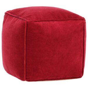 Pufe em veludo de algodão 40x40x40 cm vermelho rubi - PORTES GRÁTIS