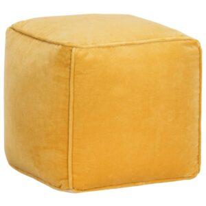 Pufe em veludo de algodão 40x40x40 cm amarelo   - PORTES GRÁTIS