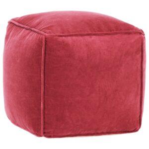Pufe em veludo de algodão 40x40x40 cm vermelho - PORTES GRÁTIS