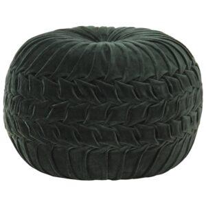 Pufe em veludo de algodão design smock 40x30 cm verde - PORTES GRÁTIS