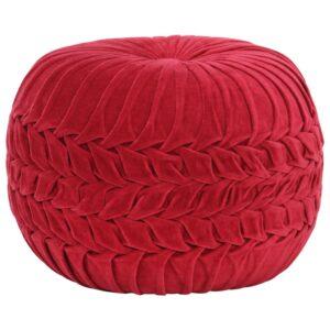 Pufe em veludo de algodão design smock 40x30 cm vermelho - PORTES GRÁTIS