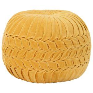 Pufe em veludo de algodão design smock 40x30 cm amarelo - PORTES GRÁTIS