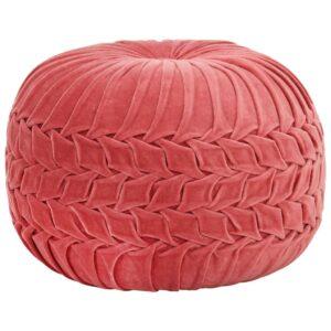 Pufe em veludo de algodão design smock 40x30 cm rosa - PORTES GRÁTIS