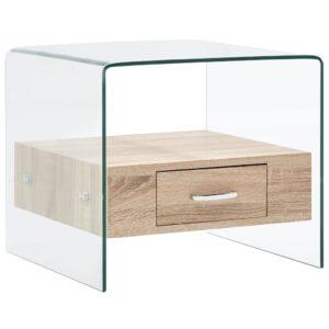 Mesa de centro com gaveta 50x50x45 cm vidro temperado - PORTES GRÁTIS