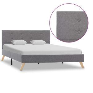 Estrutura de cama em tecido 120x200 cm cinzento-claro - PORTES GRÁTIS