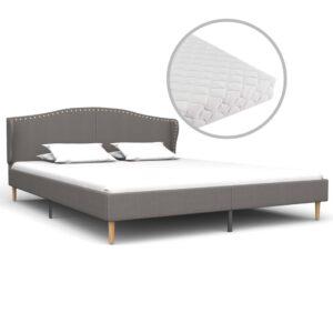 Cama com colchão 160x200 cm tecido cinzento-claro - PORTES GRÁTIS
