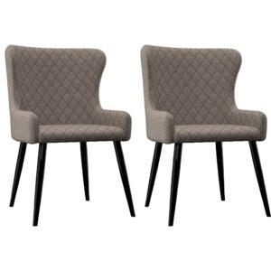 Cadeiras de jantar 2 pcs tecido cinzento-acastanhado - PORTES GRÁTIS
