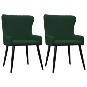 Cadeiras de jantar 2 pcs veludo verde - PORTES GRÁTIS