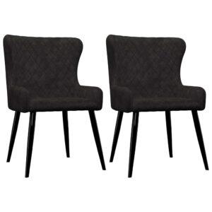 Cadeiras de jantar 2 pcs veludo preto - PORTES GRÁTIS