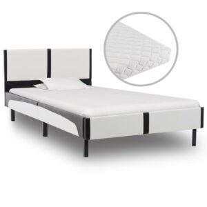 Cama com colchão 90x200 cm couro artificial branco e preto - PORTES GRÁTIS