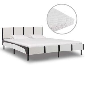 Cama com colchão 160x200 cm couro artificial branco e preto - PORTES GRÁTIS