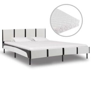 Cama com colchão 180x200 cm couro artificial branco e preto - PORTES GRÁTIS