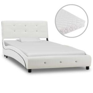 Cama com colchão 90x200 cm couro artificial branco - PORTES GRÁTIS